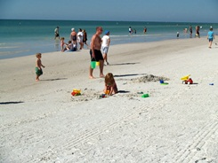 Building sand castles on Siesta Beach Sarasota Florida