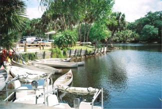 Canoes at Snook Haven on the Myakka River