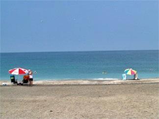 Beach umbrellas on Turtle Beach, Siesta Key, Florida