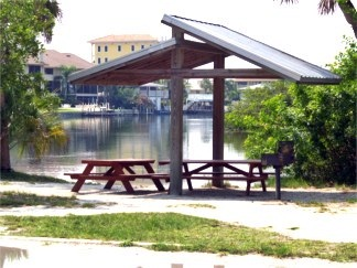 Picnic shelters at Turtle Beach lagoon