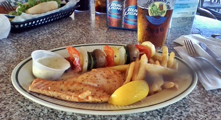 Delicious salmon meal Turtle Beach Grill on Siesta Key