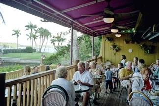 The upper outside deck at Turtles on Little Sarasota Bay