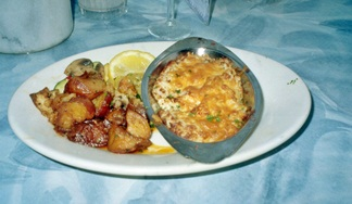 Shrimp and Crab Au Gratin at Turtles on Little Sarasota Bay