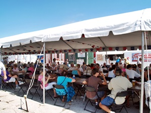 One of the many dining tents at the Venice Italian Feast