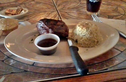 Delicious medium grilled sirloin steak at Waterfront Too Grill in Nokomis, FL