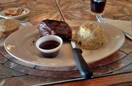 Delicious medium grilled sirloin steak at Waterfront Too Grill in Nokomis, FL
