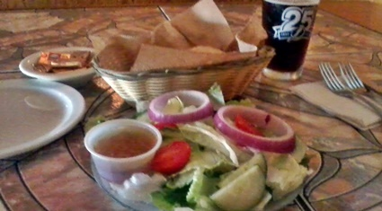 Fresh Garden Salad And Beer Buns at Waterfront Too Grill in Nokomis, FL