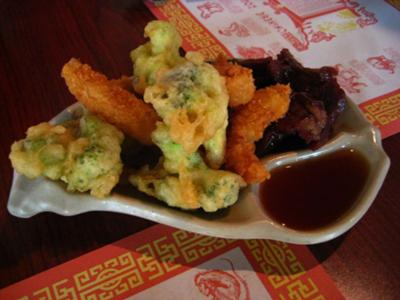 Tempura- broccoli, shrimp, and beef