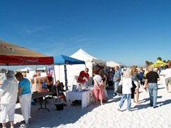 Vendor tents at Siesta Key Florida sand sculpting competition