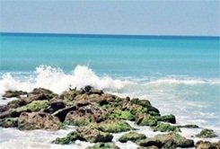 Water on the rocks at Caspersen Beach Sarasota Florida