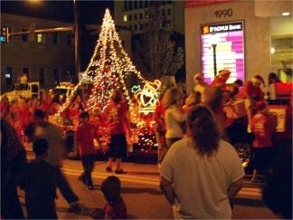 A string light Christmas Tree at the Sarasota downtown Holiday Parade