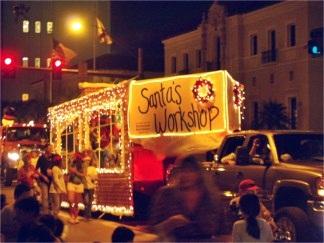 Sarasota Holiday Parade Float featuring Santas Workshop