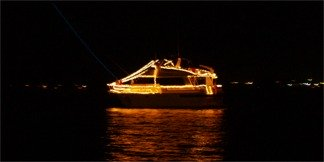 Saraota Christmas Boat Parade of Lights on Sarasota Bay.
