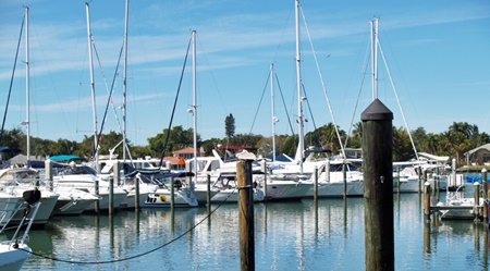 The marina at the Dockside Waterfront Grill, Venice, Florida