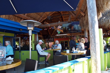 The open air patio at the Dockside Waterfront Grill in Venice, FL