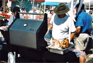 Outdoor grilling at the farmers market in Sarasota Florida