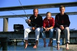 Fishing off a bridge in Sarasota Florida