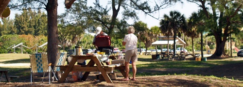 Picnicking under the shade trees at North Jetty Park