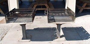 Charcoal grills at the covered picnic pavilion atNorth Jetty Park Nokomis Florida