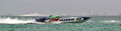Offshore boat racing off Lido Key Beach