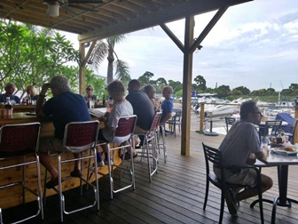Outdoor bar and deck at the Old Salty Dog
