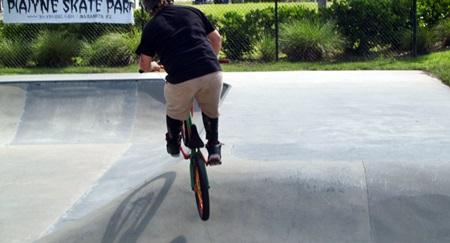 Bikers in Skate Park in Sarsota's Payne Park