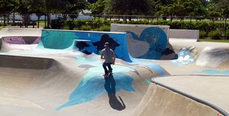 Skate boarding in Payne Park Sarasota