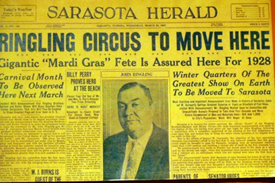 Newspaper headling in Sarasota about the Ringling Circus at the Ringling Circus Museum in Sarasota, Florida