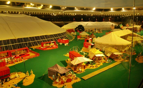 Tents on the circus grounds of the world's larges Circus Miniature at te Ringling Circus Museum