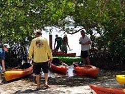 kayak eco-tour group at Sarasota's Lido Key