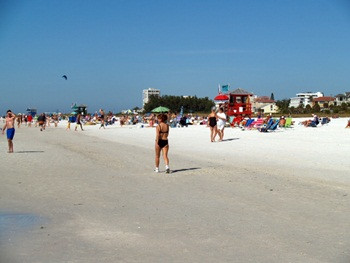 Walking the strand at Siesta Key Beach