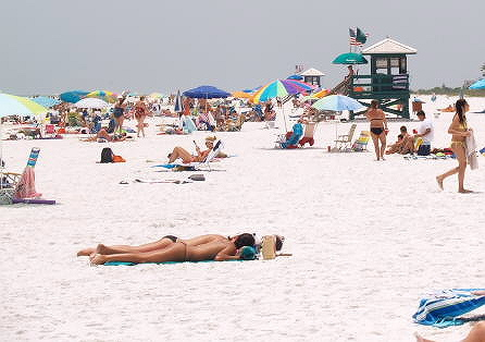 Spring break bikini girls on siesta key beach