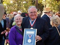 Tarzan Zerbini receives his award at Ring of Fame on St Armands Circle Sarasota Florida