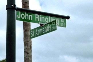St Armands and John Ringling Boulevard near Sarasota Florida